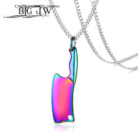 большая подвеска из нержавеющей стали оптовых-BIG J.W 4 Colors Knife Necklace Punk Rock Black Silver Gold Chain Male Pendant Necklace Stainless Steel Men Jewelry Bijoux