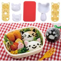 ingrosso muffa del gattino-Carino Kitty Cartoon palla di riso Muffa Set Sushi Mould Cuisine Making Helper Kitchenware Più recente 2017