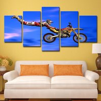 Wholesale canvas grouping paintings resale online - 5 Wall Art Canvas Paintings Home Decor Living Room Frame Pieces Motocross Limit Jumps Group Poster HD Prints Motorcycle Pictures
