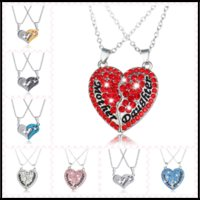 Wholesale Pearl Parts - 10 Designs 2 Half-Parts Crystal Heart Necklaces Pendants Mother Daughter Lovers Affection Chockers Jewelry with 50cm Chain