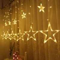 wholesale lighted christmas window decorations indoor online twinkle star curtain string lights window curtain lights
