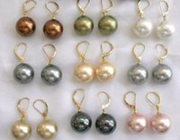 Wholesale south sea dangle pearl earrings - wholesale 18pcs 9 Pair 10mm South Sea Shell Pearl Earring