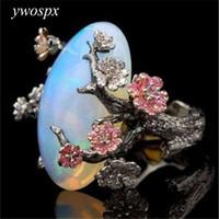 schöner goldfinger ring großhandel-ywospx Schöne Baum-Blumen-Ring-Schmuck-Schwarzes Gold füllte romantischen CZ-großen weißen Feuer-Opal-Ring-Frauen-Band-Finger-Ring Y30