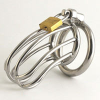 Wholesale Cock Bird Cage - 2018 Male Stainless Steel Cock Bird Cage Penis Ring Bondage Lock Chastity Belt Device Adult BDSM Products Sex Toy For Men 952