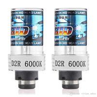 xenon projektör ışığı toptan satış-D2R D2S 6000 K Araba Hid Far Gündüz Çalışan Işık Drl Xenon Lambaları HID D2R Xenon Projektör Lens Far