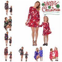 Wholesale snowflake clothing online - Family Matching Christmas Dress Outfits Mother And Daughter Clothes Long Sleeve Snowmen Snowflake Mom And Me Xmas Santa Claus Dresses MMA464