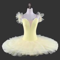tutu de desempenho amarelo venda por atacado-Adulto amarelo Tutu Profissional sem decorações Para Ballet Costume Stage Pancake Clássico Ballet Tutu Desempenho preto branco Travessa