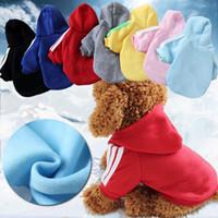 ropa de cachorro sombreros al por mayor-Otoño invierno perro rayas sudadera con capucha ropa de algodón ropa de cachorro de algodón abrigos chaquetas con sombrero mascota sudaderas XS-2XL AAA948
