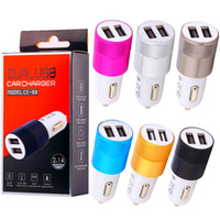 Wholesale usb charger dvr resale online - Dual Usb Ports Car charger Aluminum Alloy Metal Usb Car chargers for iphone x samsung android phone gps pc mp3 dvr with retail box