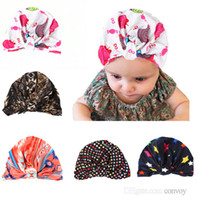 Wholesale fashion photographs - Newborn Baby Girls Hats Knot printing Knit Caps Soft Warm Infant Hat Fashion Photograph Prop BH75