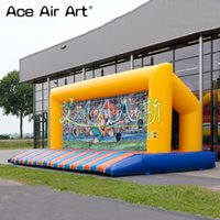 Wholesale free shipping inflatable beds for sale - Group buy Yellow color inflatable soccer shoot out gate with bed removable stickers for sale