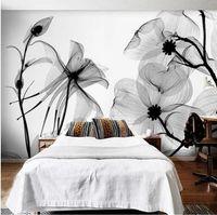 weiße gerollte blumen großhandel-Schwarz Weiß Blume 3D Abstrakt Foto Wandbild Wallpapers Tapeten Wandbilder Tapetenrolle Schlafzimmer Wand Dekor Custom Any Size