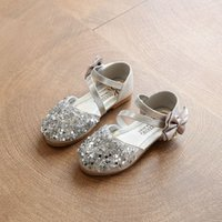 kids low heels NZ - 2018 Children Princess Glitter Sandals Kids Girls Soft Shoes Square Low-heeled Dress Party Shoes Pink  Silver Gold Size21-30