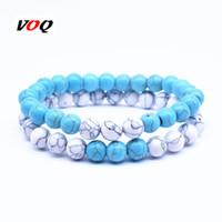 blaue stein armband-sets großhandel-Großhandel 2 Teile / satz 8mm Naturstein Paare Armbänder für Frauen Männer Sommer Weiß Blau Perlen Armband Modeschmuck Geschenk
