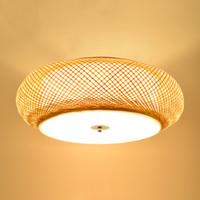 lámparas tejedoras al por mayor-Lámpara de tejer de bambú Lámparas de techo redondas Lámpara de ratán de jardín Lámpara de sala de estar LED Lámpara de techo de estudio de tatami antigua Dormitorio