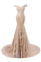 laço champanhe eua venda por atacado-Real Designer Champagne sereia laço Vestidos 2020 Off the Shoulder muito tempo fez Prom Dresses Partido personalizado formal Vestidos sexy Vestidos EUA