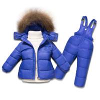 Wholesale 5t snowsuit - Winter Suits For Girls&Boys Clothing fit -15 Degrees Kids Ski Suit Snowsuit 2pcs Set Down Jacket Jumpsuit Children Clothing Set