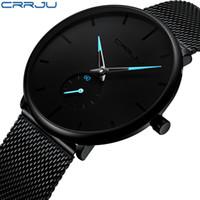reloj de lujo hombres delgados al por mayor-Crrju Top Brand Luxury Watches Hombres Relojes de pulsera de acero inoxidable Ultra Thin Hombres Classic Quartz Reloj de pulsera Relogio Masculino