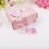 llaveros pezones al por mayor-Crystal Pink Nipple Keychain con Box Package Baby Shower Favor Fiesta de cumpleaños Sorteo Regalo para el huésped