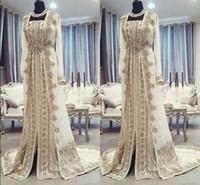 robes robe de broderie achat en gros de-Caftan marocain Caftan Robes de soirée Dubai Abaya Arabe Manches Longues Incroyable Broderie Or Cou Cou Occasion Occasion Robe De Mariée