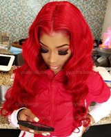 Wholesale brazilian lace wig 28 inches for sale - Group buy Red Lace Front Wigs Malaysian Virgin Human Hair Wavy Red Full Lace Wigs inches Long Hair Wig Body Wave