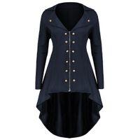zanja larga azul al por mayor-Gothic Plus Size Blue Trench Coats mujeres Slim asimétrico elegante 2018 Autumn Overcoat Office Ladies Abrigo de prendas de vestir exteriores de la vendimia