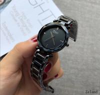 ingrosso orologi da polso degli orologi delle donne-Orologio da polso da donna in acciaio con cinturino in pelle da uomo, intarsiato in moda, con quadrante nero, movimento relogio