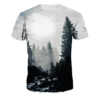 Wholesale Stylish Womens Tops - Stylish Womens Mens T-shirt Forest tree 3D T Shirts Print Graphic Tee Round Neck Casual Short Sleeve Tops