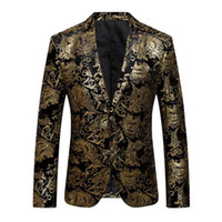 Wholesale mens red fitted suit - 2018 New Male Floral Jacket Suit Mens Blazers Fashion Single Button Suits Slim Fit Party Blazers Plus Size M-4XL
