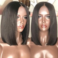 Wholesale color mix lace front wig - Cheap Glueless Bob Wigs Virgin Human Hair Lace Front Wigs For Black Women Straight Peruvian Brazilian Indian Full Lace Human Hair Wigs