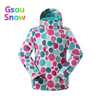 сноубординг лыжная одежда оптовых-2017 Gsou Sonw Outdoor Sports Winter Women Camouflage Snowboarding Warmer Ski Jackets Waterproof Wave point Skiing Clothing