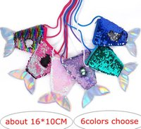 Wholesale change purses for online - Big Girls Mermaid Women Tail Sequins Coin Purse Girls Crossbody Bags Sling Money Change Card Holder Wallet Purse Bag Pouch For Kids Gifts