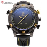 ingrosso orologio digitale quadrante nero-Kitefin Shark Sport Watch Black quadrante giallo LED analogico digitale allarme cinturino in pelle fuso orario multipla uomini esercito orologio da polso / SH231