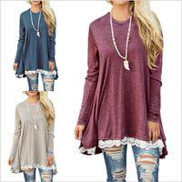 Wholesale Wholesale Chiffon Tunic Dress - Dresses Plus Size Lace Dress Long Sleeve Loose Shirt Dress Print Tunic Tops Women Fashion Blouse Round Neck Dresses Women's Clothing B3736
