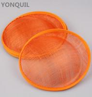sombrero derby naranja al por mayor-20 CM Orange Derby boda SINAMAY fascinators base sombreros del partido fascinators DIY accesorios para el cabello copas de cóctel 5 unids / lote