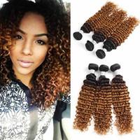 ingrosso capelli peruviani tessere marrone-Nuovo arrivo peruviano Ombre Hair Extensions Two Tone Brown Blonde 1B / 30 fasci di tessuto dei capelli umani onda profonda peruviana colorata