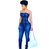 Wholesale woman lycra catsuit resale online - Skinny Female Denim Jumpsuit High Quality Button Hole Strapless Catsuit Fashion Woman Bodycon Sexy Club Partywear