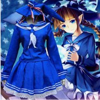 Wholesale japanese costumes adult - Sexy Adult Women Halloween Japanese School Girls Costume Teen Hot Blue Sailor Cosplay Fancy Pleated Skirt Suit For Ladies