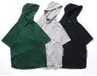 Wholesale Mens Summer Hoodie - Kanye Fashion Summer Mens Hooded T Shirt Hoodies Casual Solid Hoodies Homme Sweatshirt Men Broken With Pocket