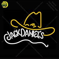 lámpara de pub al por mayor-Rara Jack Daniel Whisky Sombrero de vaquero Letrero de neón Lámpara de neón GLASS Tube BEER BAR PUB Tienda Exhibición Artesanía Signo icónico personalizado