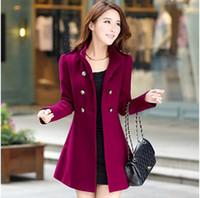 Wholesale Ladies Blue Winter Coat - New Fashion Women Korean Wool Coat Ladies Designer Long Blazer Winter Outwear Windbreaker Female Casual women's coat woolen overcoat