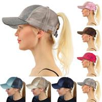 Wholesale baseball hat hooks - Fashion Lady Sequins Ball Hat Multi Color CC Glitter Ponytail Snapbacks Visor Hats Mesh Baseball Cap New Arrive