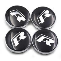 Wholesale vw wheel emblems resale online - 4pcs set Car Badge Emblem Wheel Hub Caps Center Cover Caps R Racing Center Caps in Black Color for VW