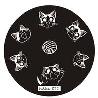 гвоздь hehe оптовых-New Brand HAICAR 1PC Stencils for nails Cute cat Nail Art Image Stamp Stamping Plates Manicure Template Hehe Series Pretty