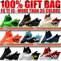 Wholesale Ground Controls - Laceless Firm Ground ACE 17 Purecontrol Soccer Shoes FG TF IC Indoor ACE Pure Control Football Boots Original Soccer Cleats Socks 6.5-11