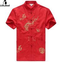китайские рисунки драконов оптовых-Men New Arrival Shirt Chinese Tradition Style Dragon Pattern  Short Sleeve Shirts M-L-XL-XXL-3XL