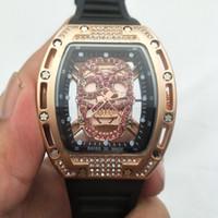 Wholesale black skull glasses - Cool Skull Original Brand Watches Waterproof Luxury Silicone Strap Students Mens Watches Fashion Wristwatches Quartz Business Men Watch