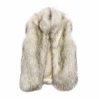 chalecos esponjosos al por mayor-Mujeres largo chaleco de piel sintética Casacos Femininos De Pele abrigo de otoño invierno Feminino moda Outwear Fluffy chaleco de piel falsa Q4