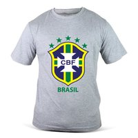 Wholesale fifa online - 1248 GY CBF Brazil Brasil FIFA World Cup Football Soccer Grey Mens T Shirt