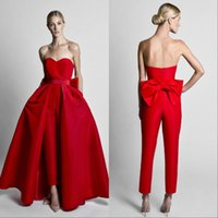 ingrosso grandi donne bianche sexy-Krikor Jabotian Red Jumpsuit Abiti da sera con gonna staccabile Sweetheart Prom Gowns Pantaloni per donna Custom Made Big Bow Nero Bianco